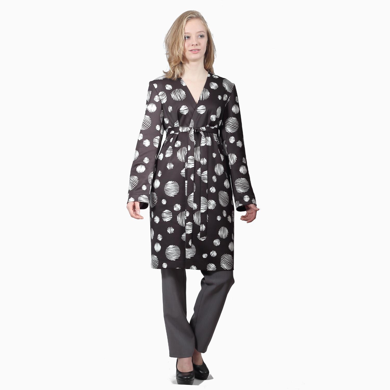 black blazer with polka dot print