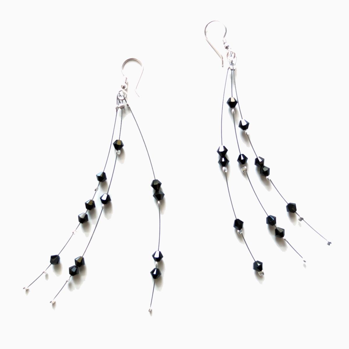 long dangle crystal black earrings
