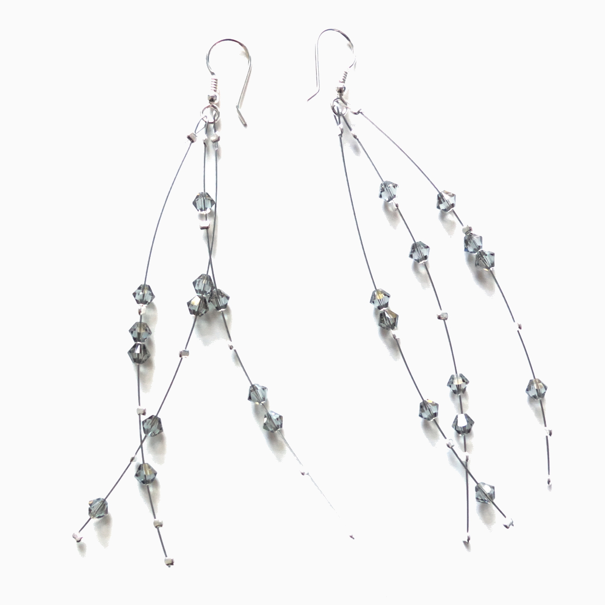 long dangle crystal clear earrings