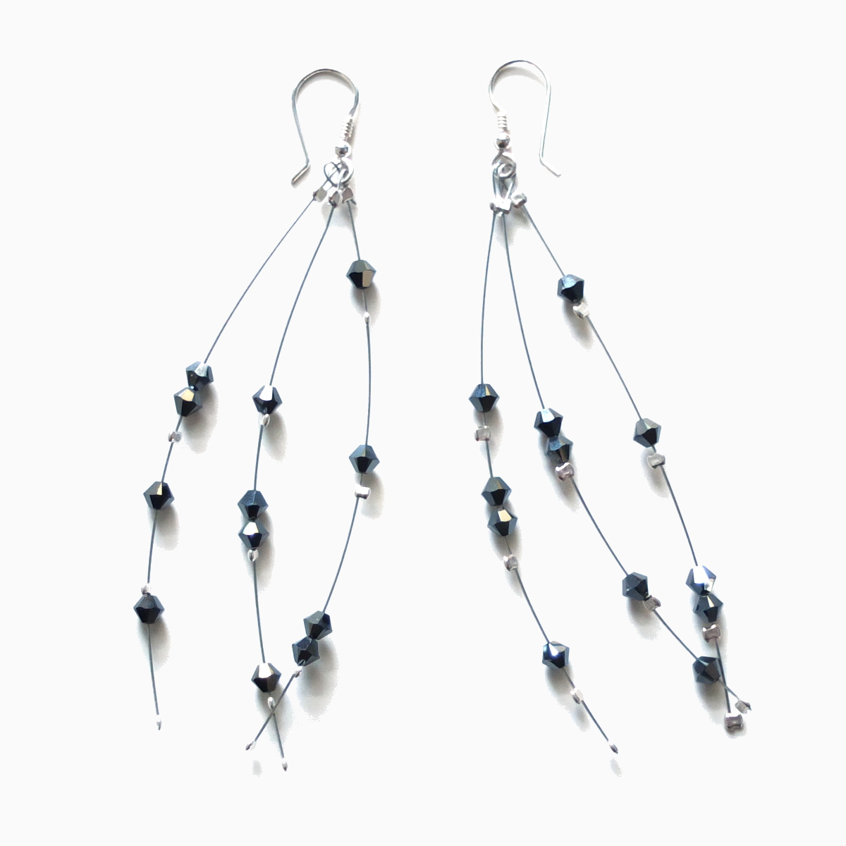 long dangle crystal grey earrings