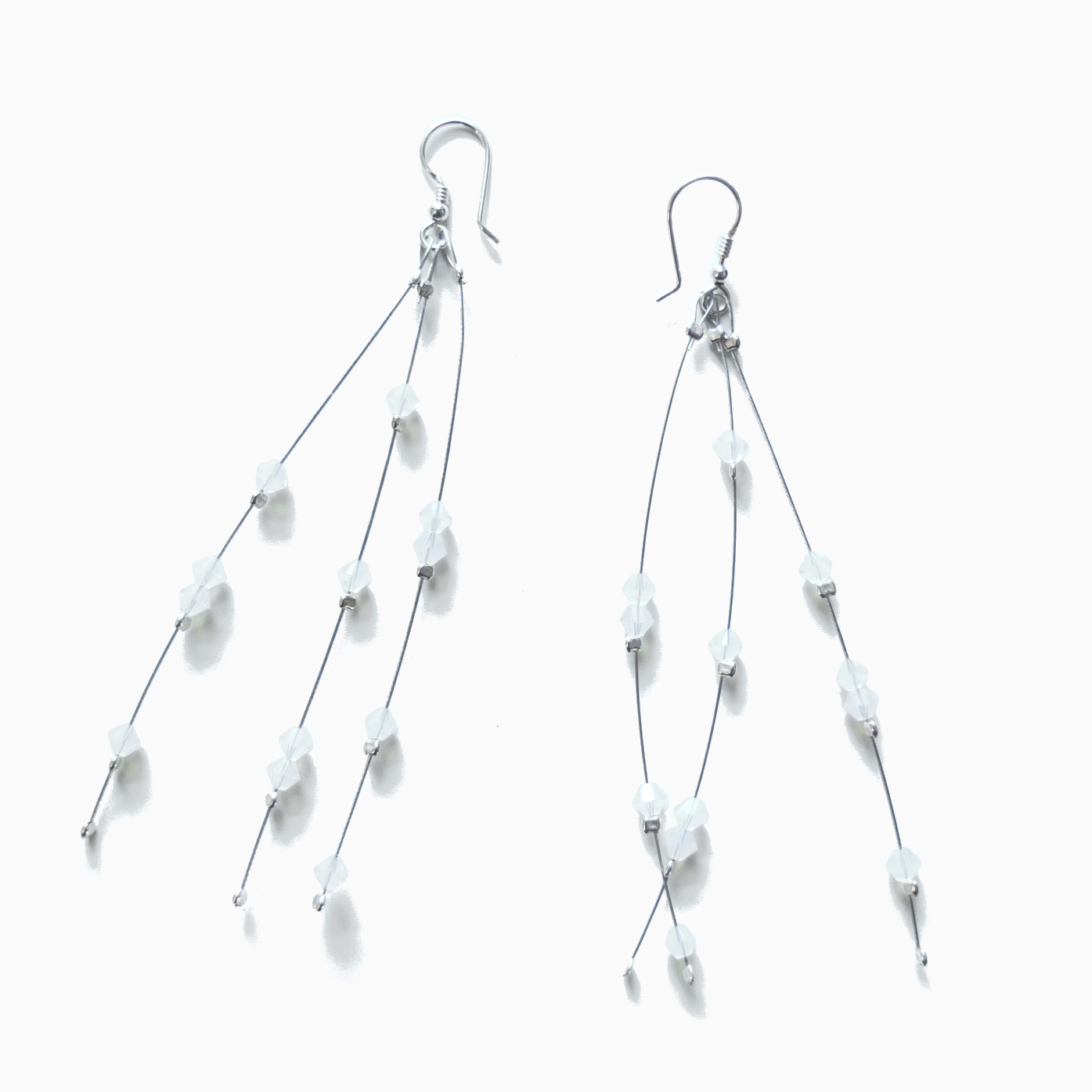 long dangle crystal white opal earrings