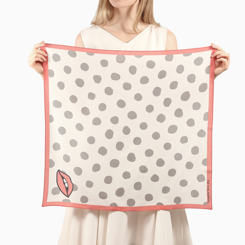 polka dot print silk scarf