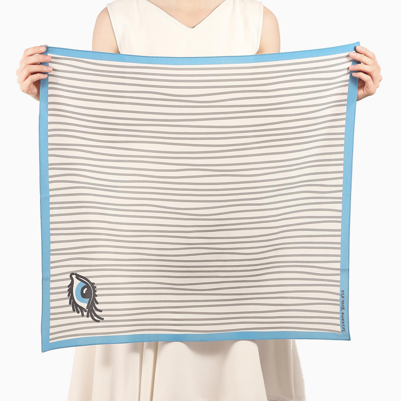 silk scarf stripe print blue